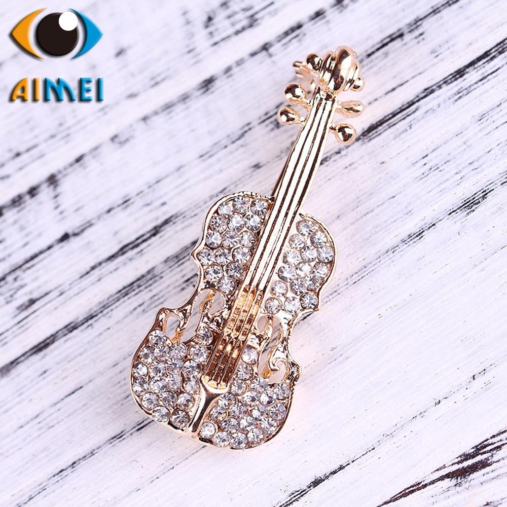 Korean brooch female retro fashion diamond violin chest guitar corsage men and women coat shirt pin accessories