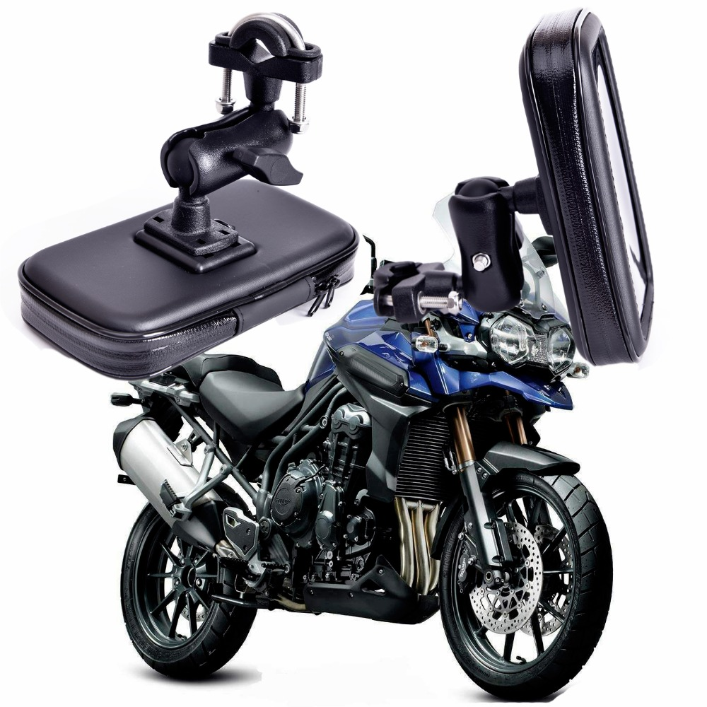 360 Rotating GPS Motorcycle Phone Holder Waterproof Bag Bicycle Phone Holder Adjustable Handlebar Support Moto Mount Card Slots