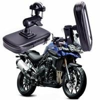 360 Rotating GPS Motocicleta Soporte para teléfono Bolsa Impermeable Soporte para teléfono para bicicleta Soporte para manillar ajustable Ranuras para tarjeta Moto Mount