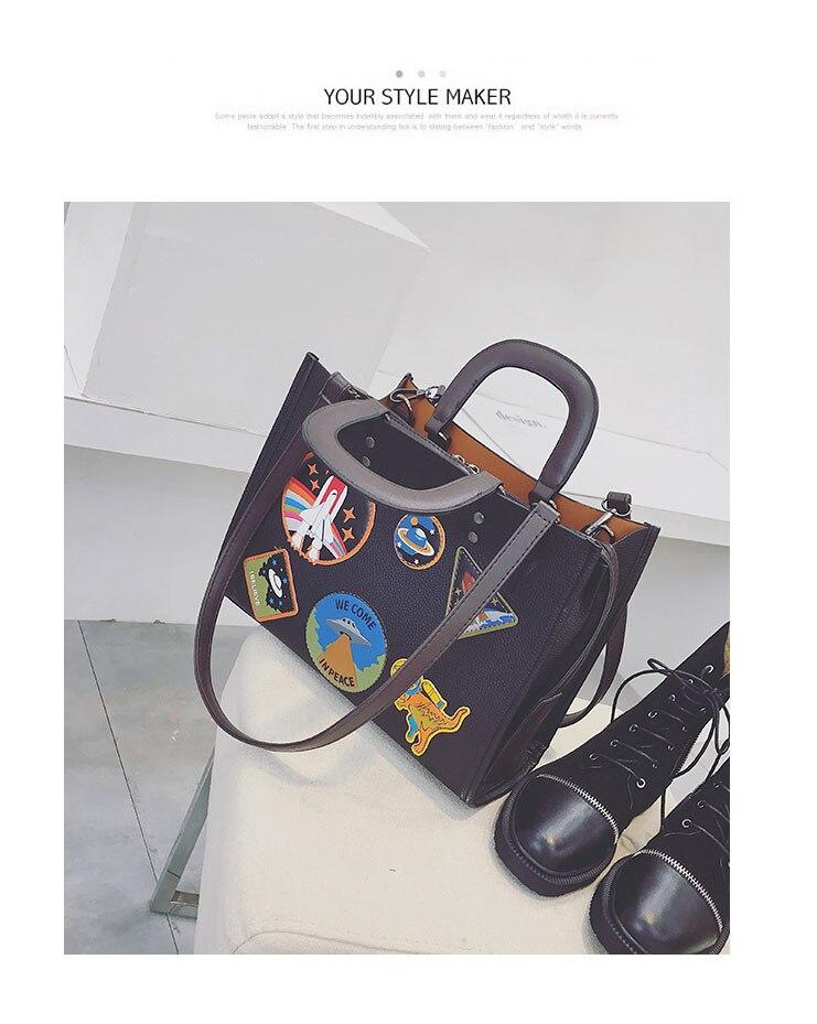 Women Rocket Space Tote Bag Pu Leather Handbag 2018 Autumn And Winter Black Blue Badge Lady Hand Bag Casual Single Shoulder Bag 17