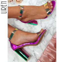 Liren Ankle Strap Heels Sandals Women Chunky High Heels Open Toe Women Shoes Party Dress Sandals Bling Ladies Cover Heel single sole clear lucite chunky heel sandals women ankle strap perspex high heel sandal plastic transparent dress sandals