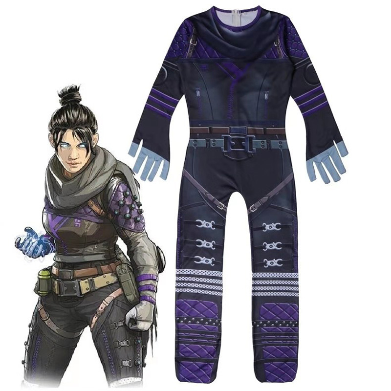 ZSQH 2019 Hot Game Apex Legends Jumpsuits Wraith Kids Jumpsuit Wraith Cosplay Costumes Children Bodysuit New costume for kids