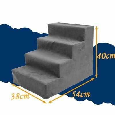 4 Steps Pet sponge Ladder with Cover 54*40*38cm cm Dog Stairs Indoor Portable Cat Stairs Anti-slip Removable Sofa Bed Stairs 014