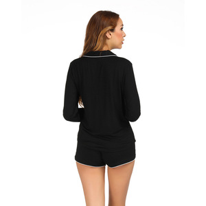 Image 5 - Long Sleeve Pajamas with Shorts Set Cotton Pajamas Set Turn down Collar Night Shirt Casual Home Clothing Sleepwear White Black