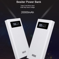 Besiter 20000mah Power Bank Quick Charge Portable Phone Charger For Smart Phones External Battery Charger Battery