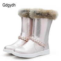 Gdgydh Real Fur Snow Boots Women Flat With 2017 New Winter Silver Pink Warm Shoes Outerwear