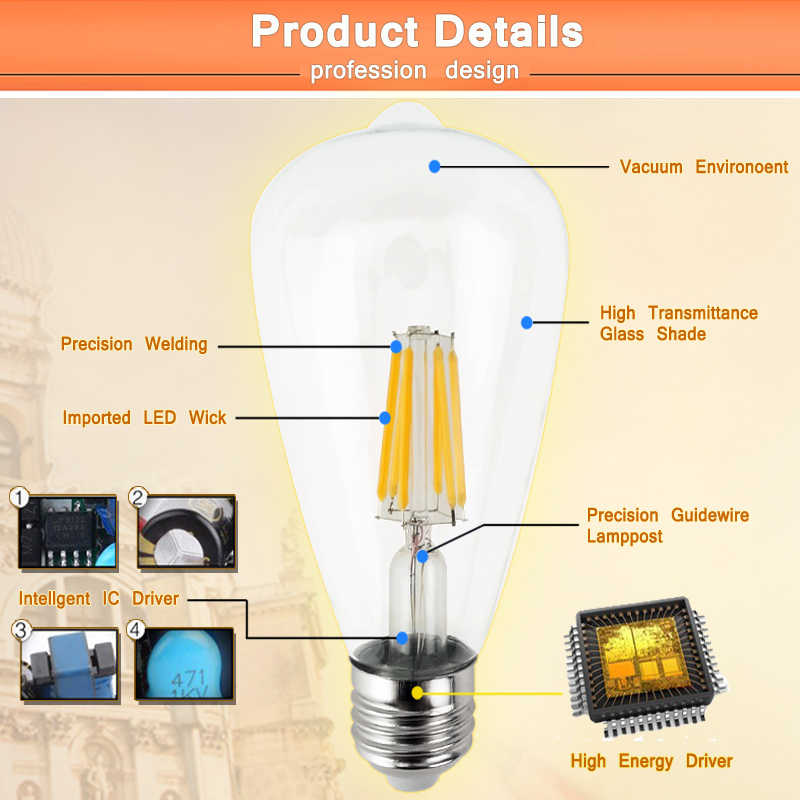 Bon E27 E14 Antique LED Edison ampoule 220V rétro LED Filament lumière Vintage LED ampoule en verre lampe 4W 8W 12W 16W bougie lampe