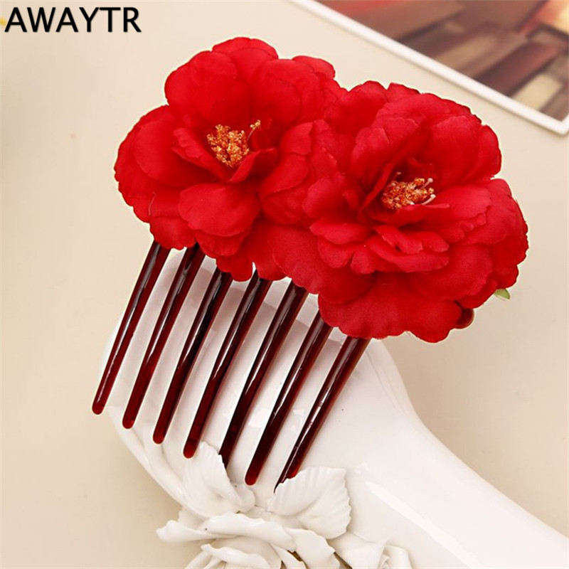 AWAYTR Bohemia Style 2016 Women Girl Bridal Camellias Hairband Combs Hair Accessories Beach Headwear Wedding Hair Jewelry