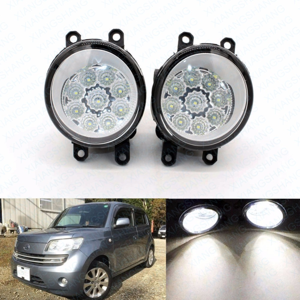 2pcs Car Styling Round Front Bumper LED Fog Lights High Brightness DRL Day Driving Bulb Fog Lamps For DAIHATSU matter mpv-36 M4 led front fog lights for renault koleos hy 2008 2013 2014 2015 car styling bumper high brightness drl driving fog lamps 1set