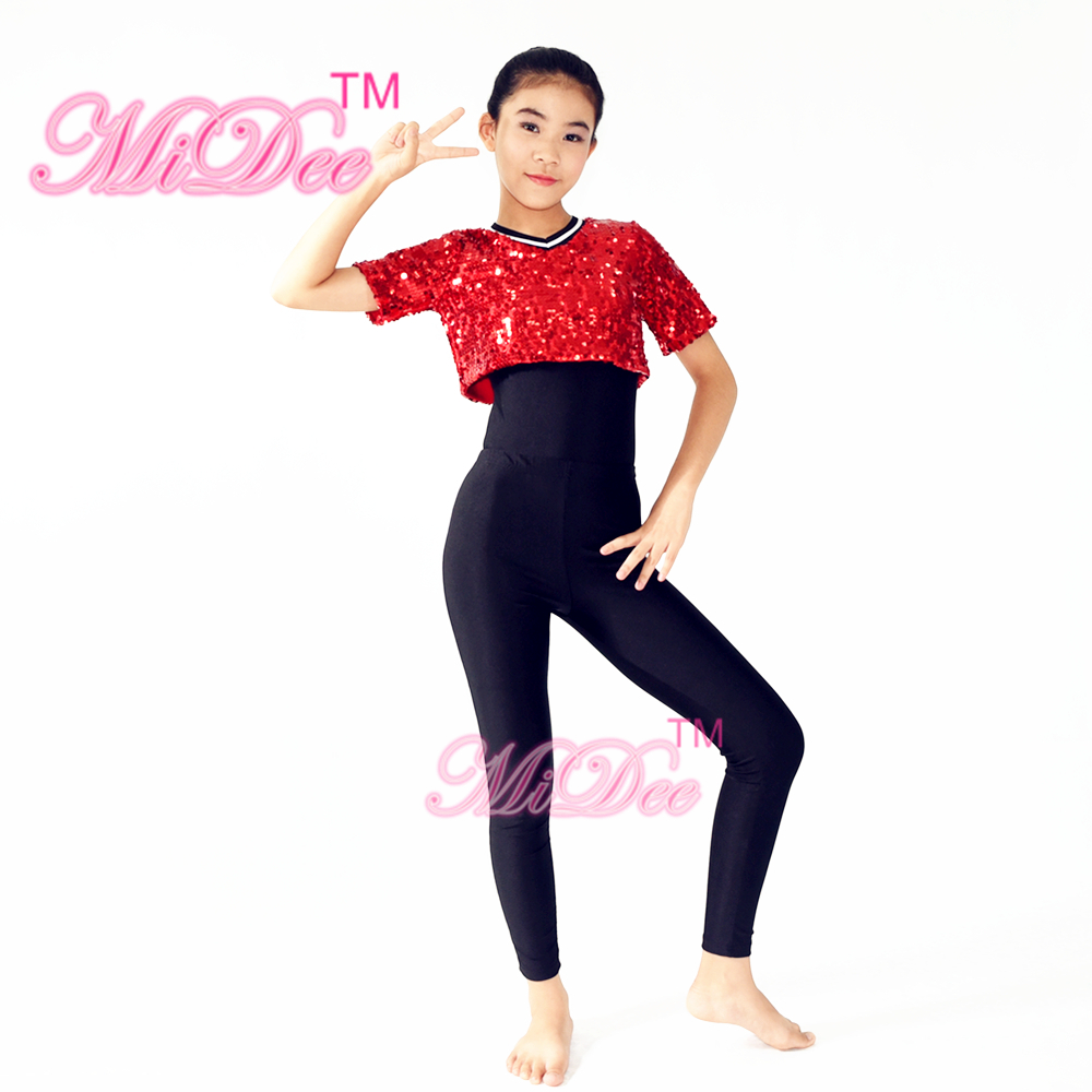 829234cdc55c Red Sequin T Shirt Black Leotard under Hight Waist Leggings Stage Dance  Outfits Hip Hop Dance Costumes-in Latin from Novelty & Special Use on  Aliexpress.com ...
