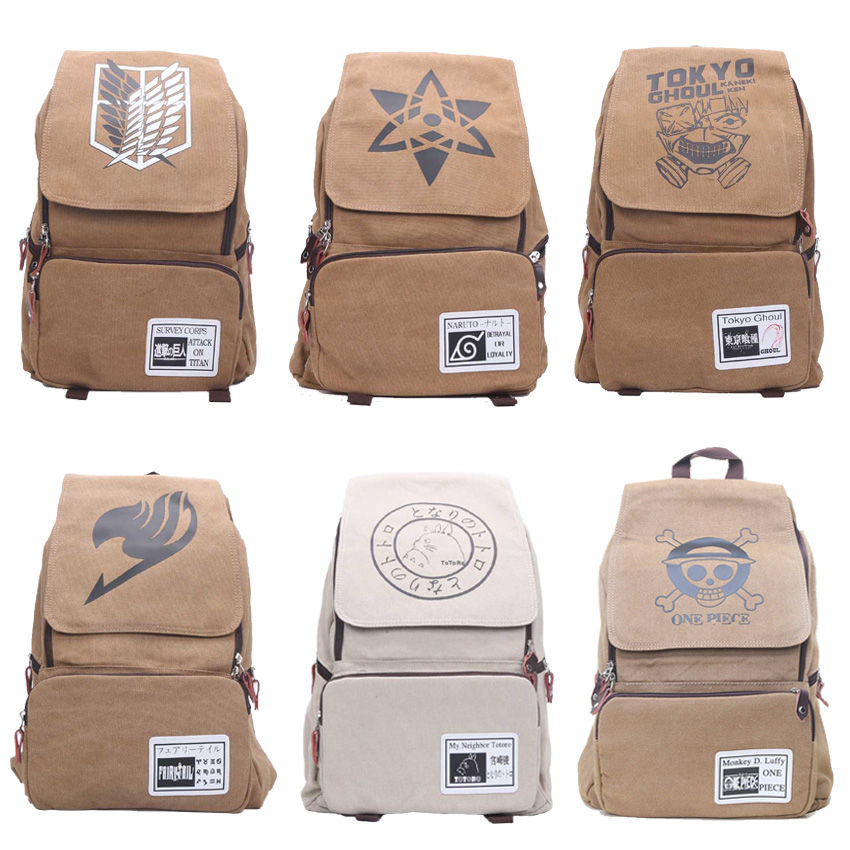 One Piece Naturo Totoro Attack on Titan Tokyo Ghoul Fairy Tail Backpack Large Capacity Travel School Bag Rucksack Mochila anime cartoon tokyo ghoul cosplay backpack schoolbag one piece gintama school bag rucksack men s women s naruto travel bag