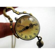 Vintage Style Glass Ball Steampunk Pocket Watch Antique Brass Necklace