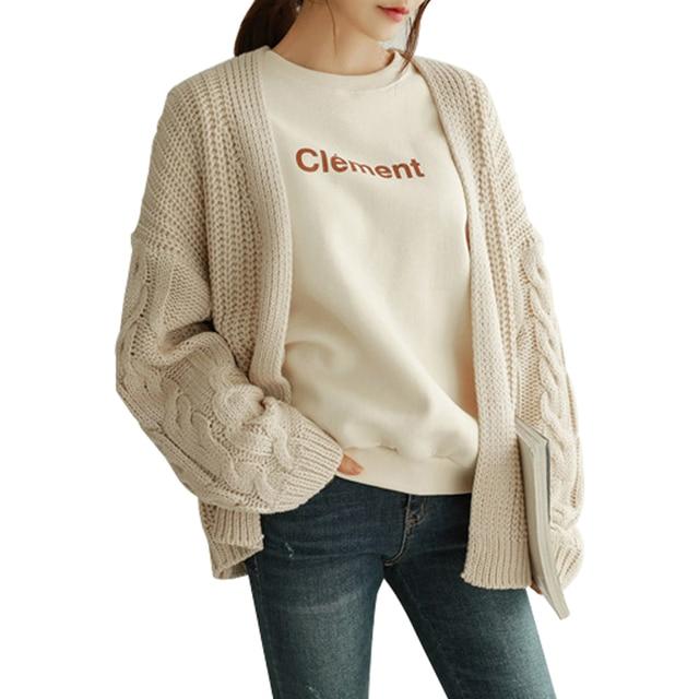 2018 Autumn Women Cardigans Sweaters Casual Long Sleeve Loose Knitting Cardigan Fashion Solid Outwear Harajuku Female Slim Coat