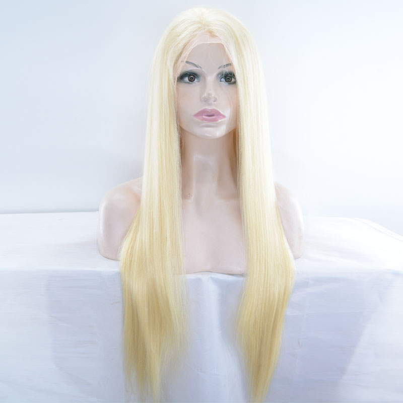 Blond Lace Frontal Wigs 613 Blond Lace Frontal Human Hair Wigs Brazilian Remy Straight Transparent Lace Frontal Wigs HCDIVA