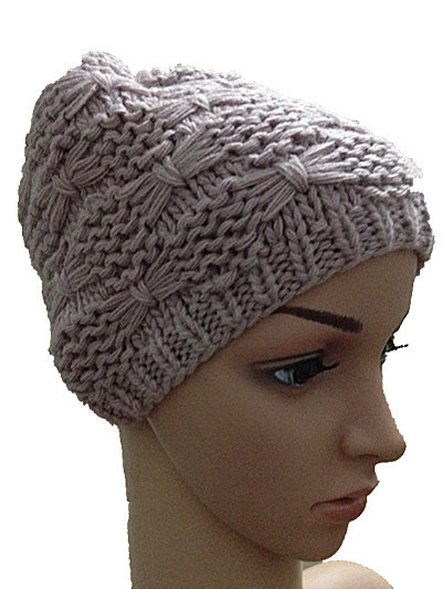 BomHCS Autumn winter solid color butterfly flower hat 100 handmade knitted cap