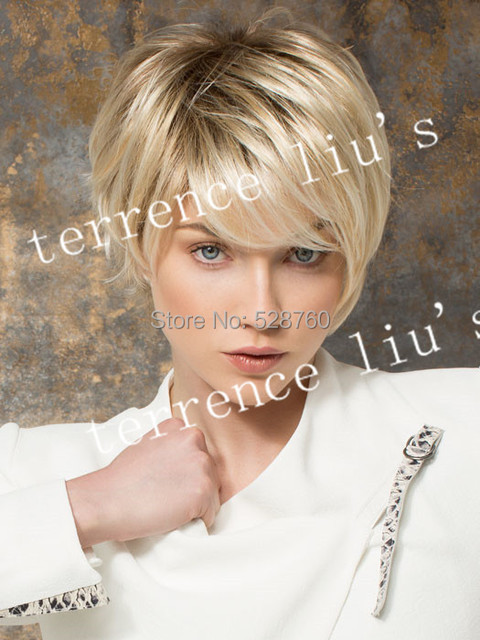 Schöne Pixie Cut Stil Kurze Glatte Haare Blonde Perücke Mit Vollem