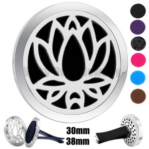 Silver Lotus 30m-38mm Magnet Diffuser Car aromatherapy Locket Free Pads Essential Oil 316 Stainless Steel Car Diffuser(China)