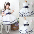 Cute Baby Kids Princess Party Girls Dress Del Bowknot Del vestido del Tutú del Vestido Formal Blanco