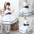 Miúdos bonitos Do Bebê Meninas Princesa Vestido de Festa Bowknot Vestido Formal Branco Vestido Tutu