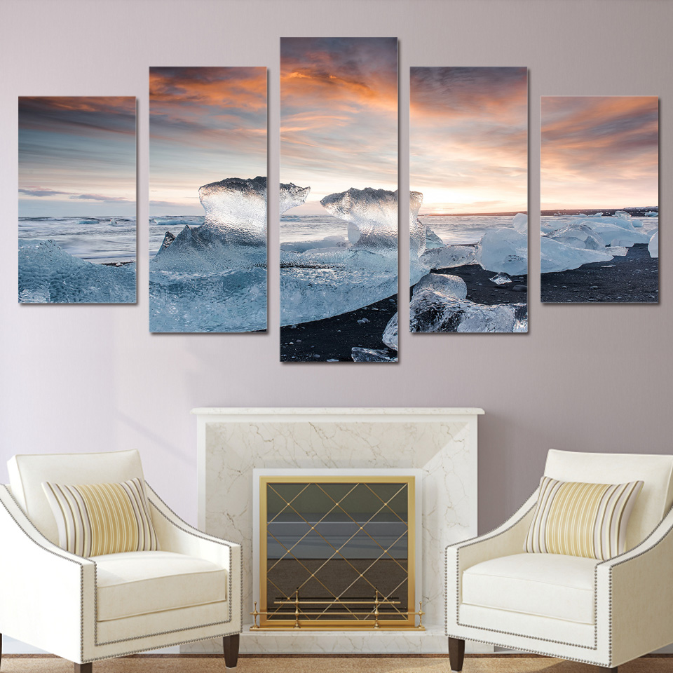 wohnzimmer wand poster : Leinwand Malerei Wohnzimmer Wand Poster 5 Panel Eis Landschaft