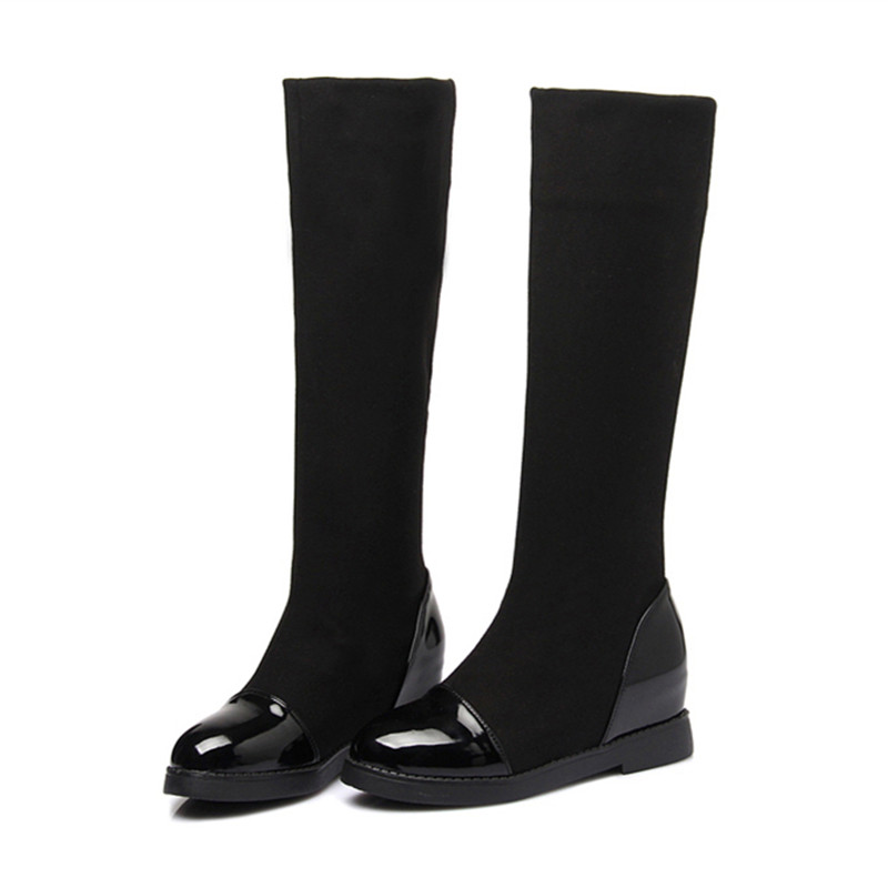 Neue 2018 Klassische Flache Stiefel Frauen Winter Stiefel Schwarz Knie Hohe  Stiefel Versteckte Ferse Stretch Stoff Stiefel Frauen Botas D50 in Neue 2018  ... 1643cacf78