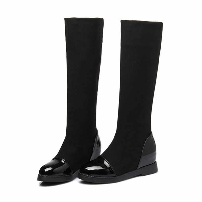 fd27fbe5c0 ... New 2018 Classic Flat Boots Women Winter Boots Black Knee High Boots  Hidden Heel Stretch Fabric ...