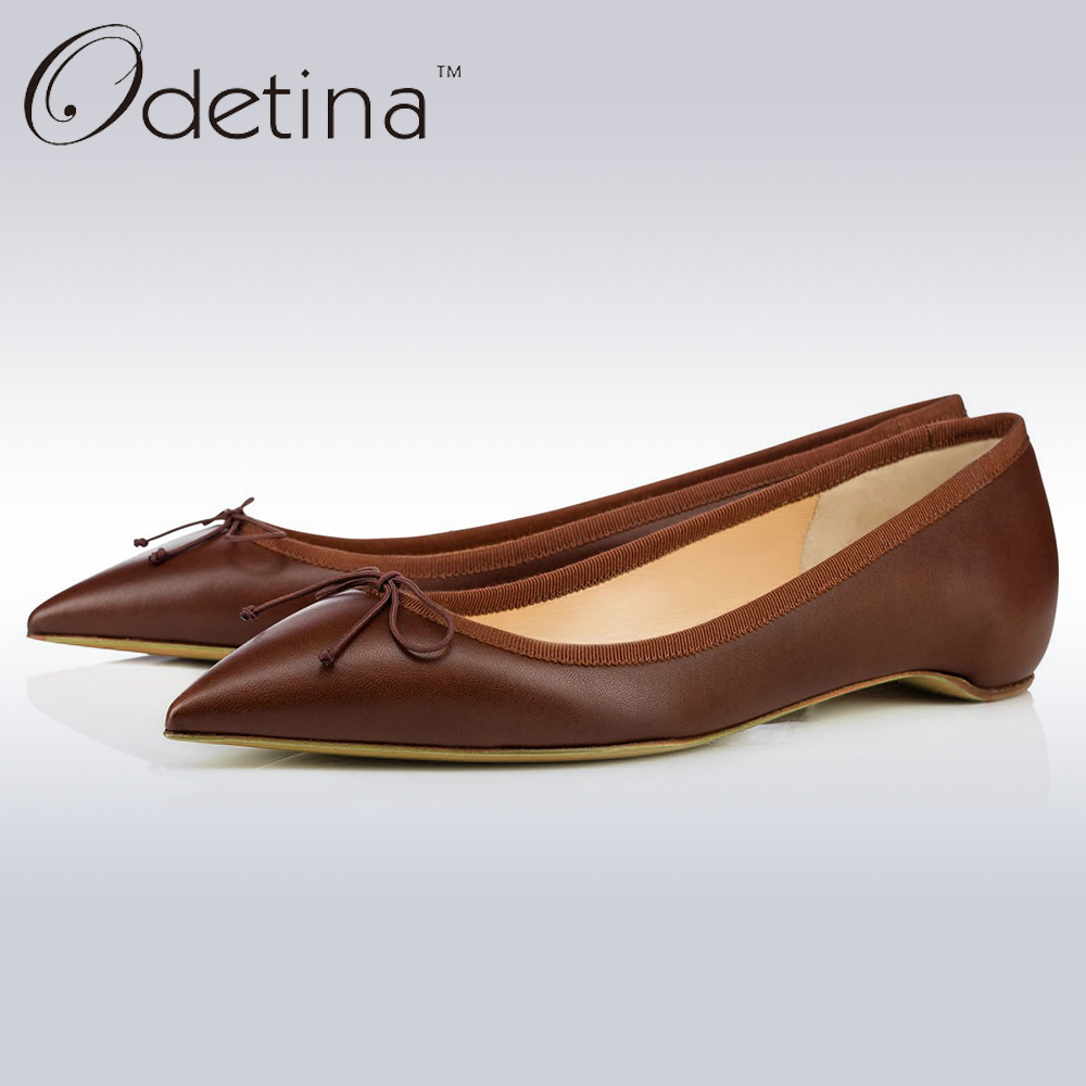 Odetina 2017 Brand Fashion Women Casual Flat Spring Shoes Pointed Toe Ballet Flats Bowknot Slip On Loafers Ballerinas Plus Size women fashion bow pointed toe slip on girls flats ladies casual breathable ballerinas shallow flats women flat students shoes