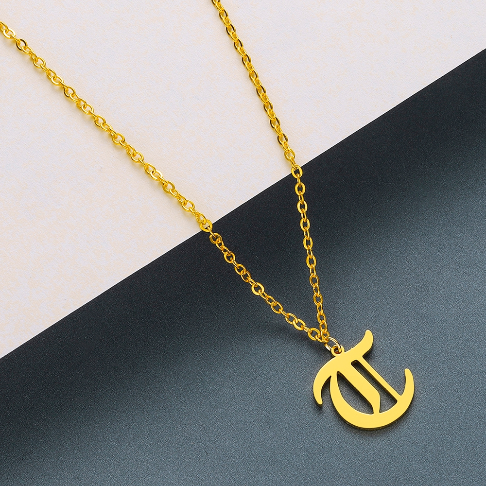 Todorova Old English Custom Capital Initial A-Z Letter Pendant Necklace Men Vintage Font Personalized Necklace Women Jewelry 58