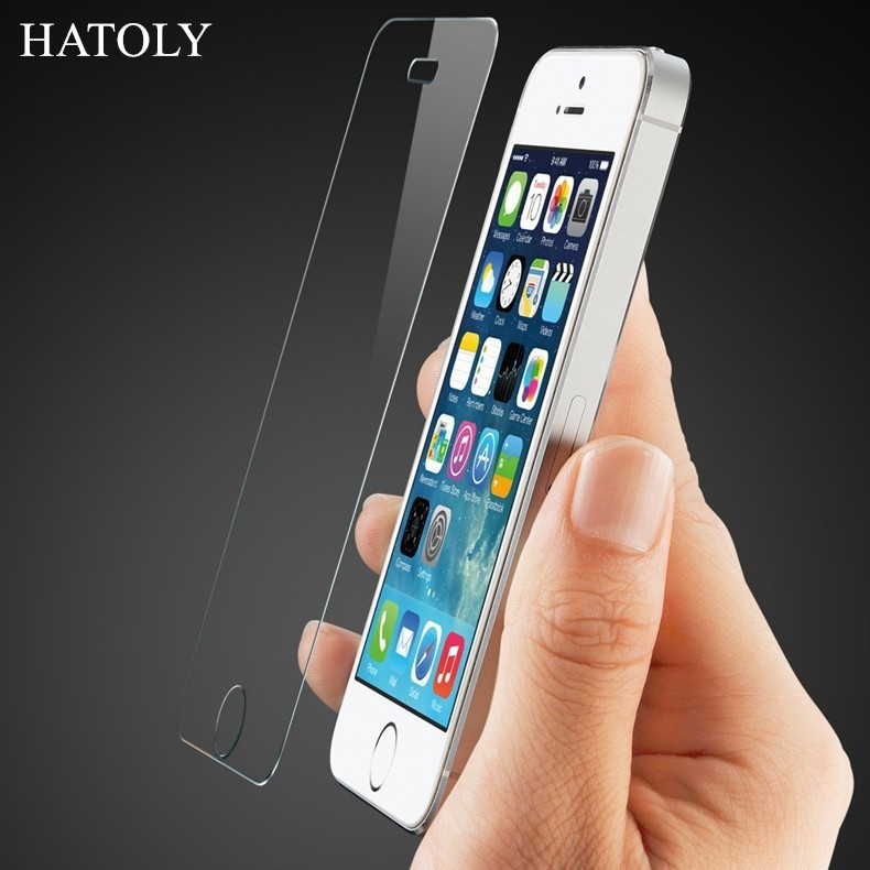 HATOLY For font b iPhone b font 5s Glass Ultra Thin HD Protective Film Screen Protector