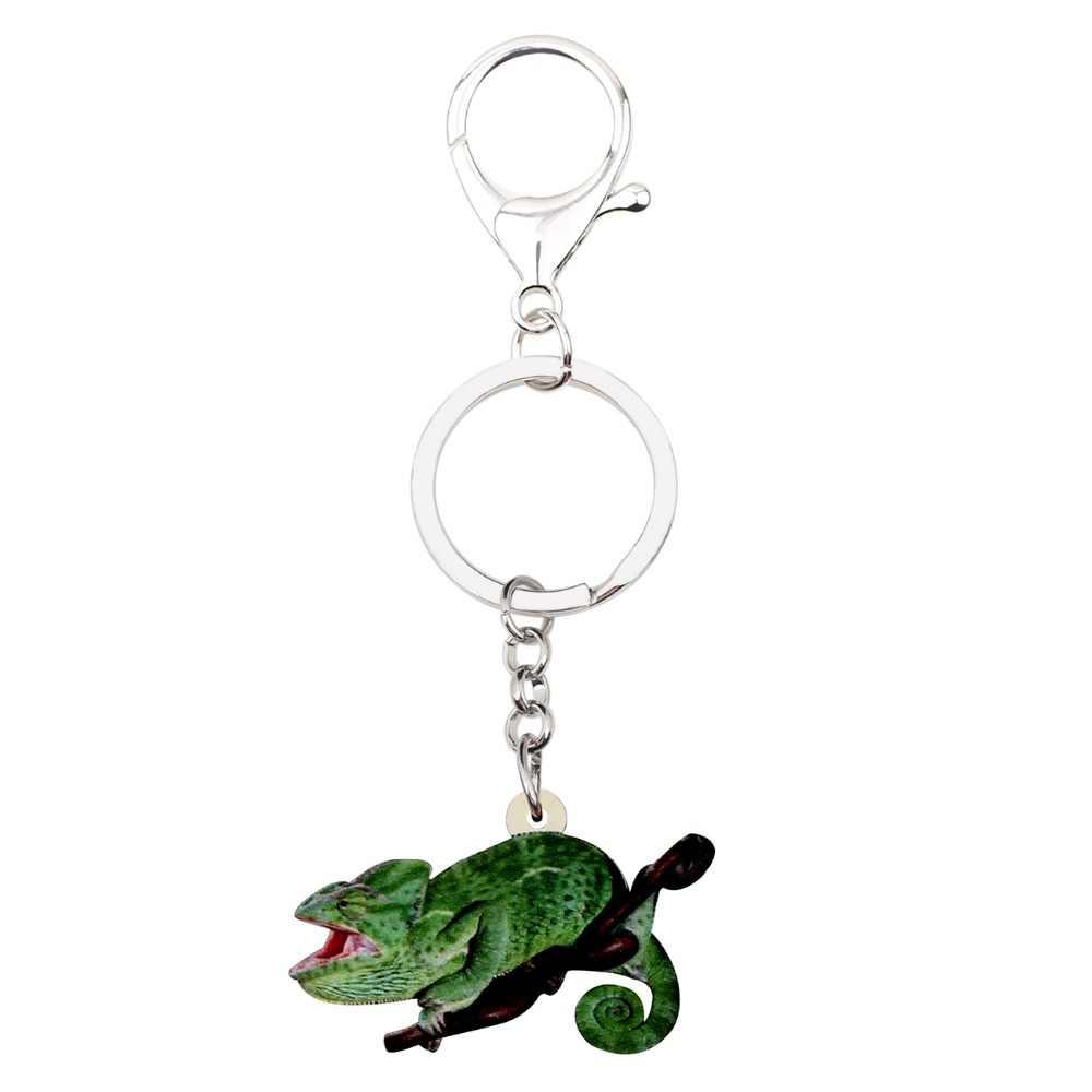 Bonsny acrílico camaleón Anole llaveros llavero titular novedad mascota Animal joyería para mujeres niñas señoras bolso coche monedero encantos