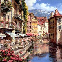 40*50 cm Orilla pueblo pinturas de la lona sin marco decoración del hogar pintura al óleo por números paisaje fotos wall art