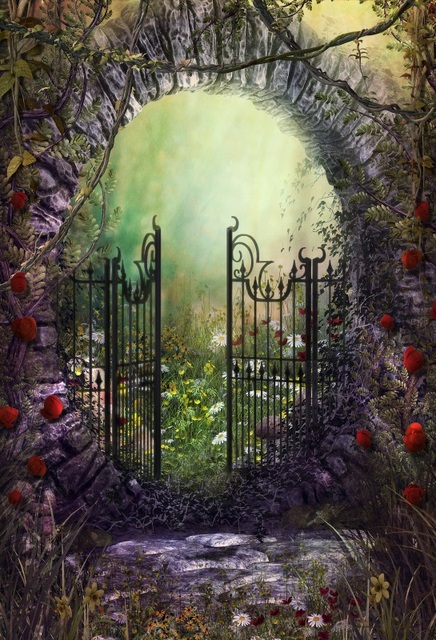 Laeacco Fairytale Garden Arch Door Scenic Baby Photography Backgrounds Customized Photographic Backdrops For Photo Studio