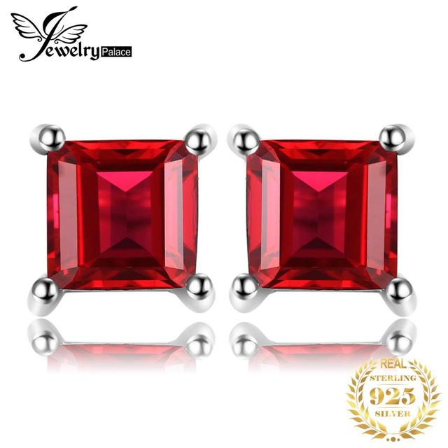 JewelryPalace Princess Cut Pure Natural Red Garnet 925 Solid Sterling Silver Dazzling Stud Earrings For Women Fine Jewelry