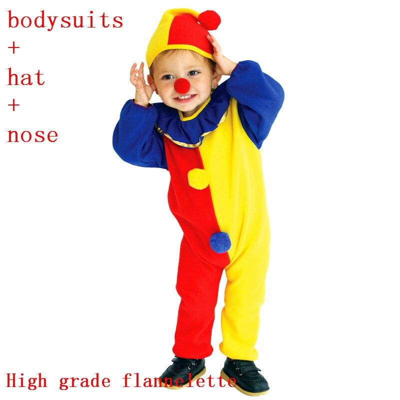 Kids Clown Costume Nose Clown Joker Onesie Kids Outfit Bodysuits Jumpsuits Hats Clown Dance Costumes Girls Boys
