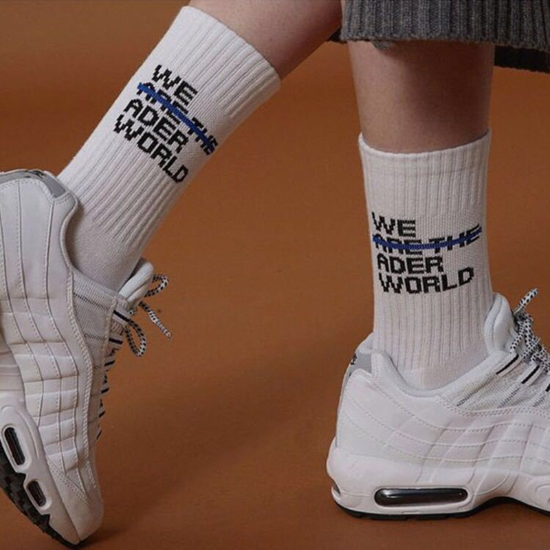 Ader Error Socks Fashion Men Women Casual Cotton Crew Socks Popsoket Spoting Hip Hop Skateboard Casual Funny Letter Happy Socks