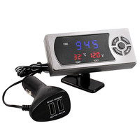 3 5A Car Dual USB Ports Clock Voltmeter Thermometer 4 In 1 Dual USB Car Charger