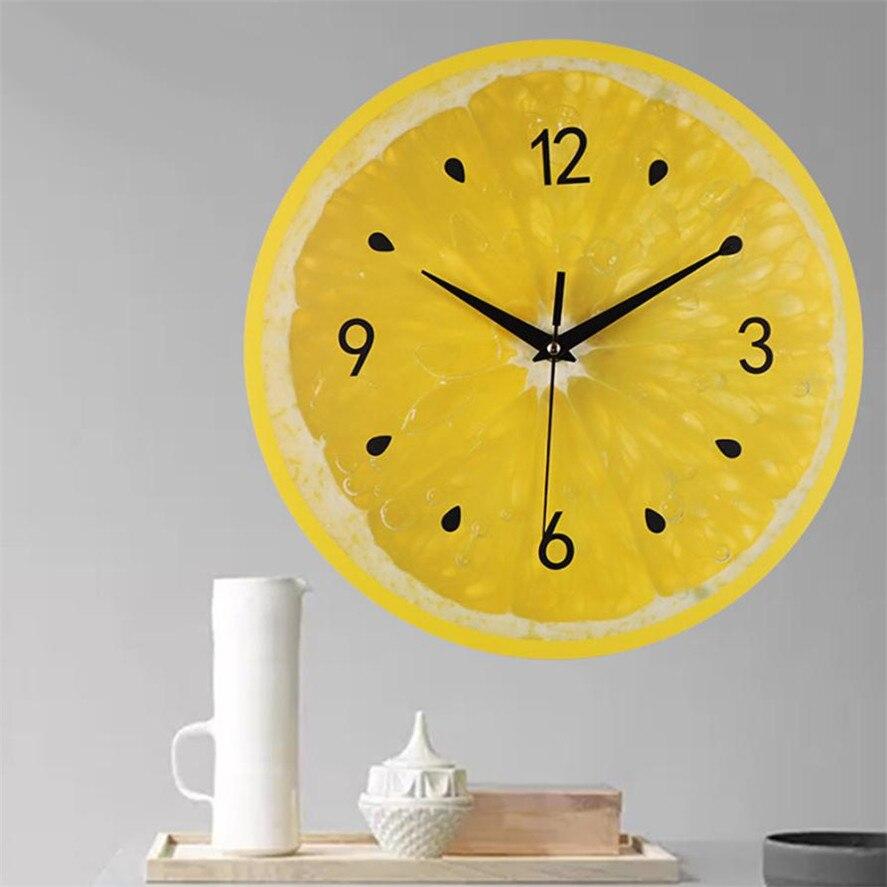 New Fruit Pattern Decor Wall Clocks 1pc Silent Sweep Elegant ...