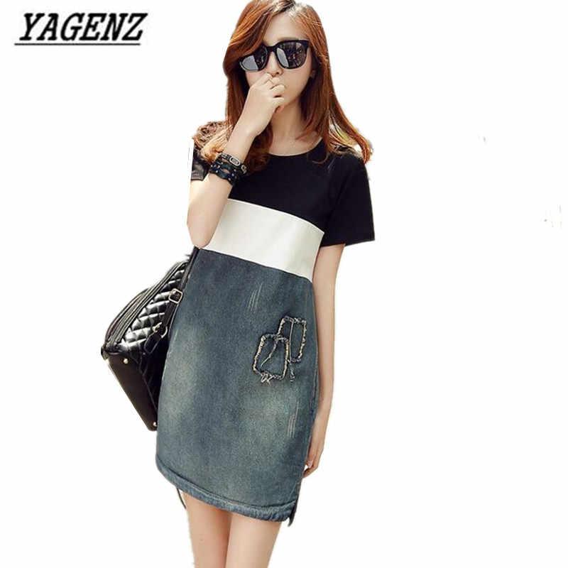 YAGENZ женское джинсовое платье 2018 Весна и лето Повседневные хлопковые джинсы с короткими рукавами свободные строчки джинсовое платье для женщин плюс размер