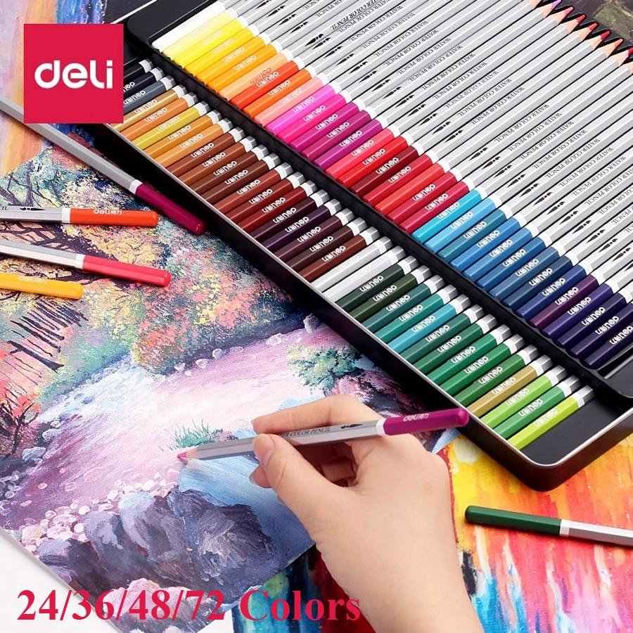 24 36 48 72 lapis de cdr profissional Crayons de Couleur 72 Crayons Aquarellables Plomb hydrosolubles Ensemble de Crayons de Couleur Fournitures D'art