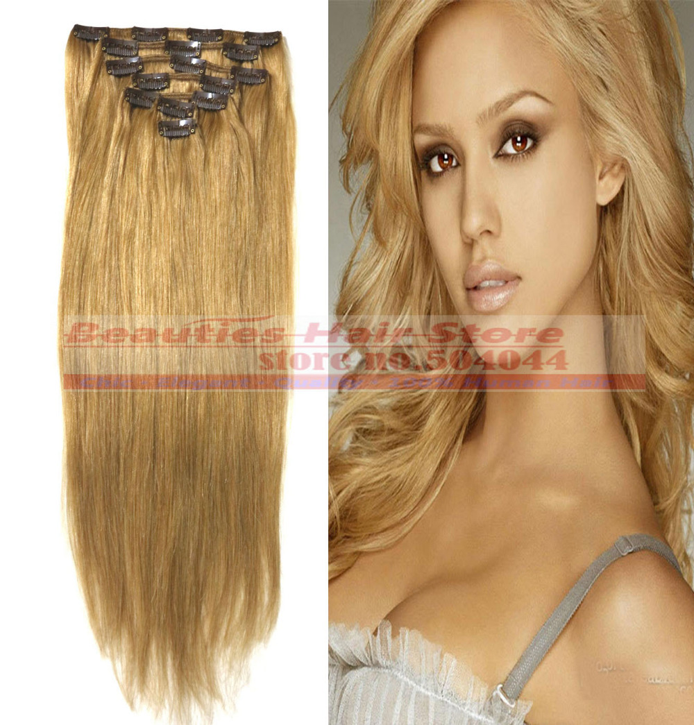 "16"" 18"" 20"" 22"" 24"" 26"" 28"" 7pcs Set 100% Brazilian Remy Hair clips In/on Human Hair Extensions #27 70g 80g 100g 120g 140g"