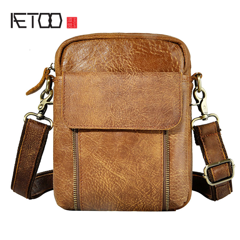 AETOO The first layer of oil wax leather leather men's tide mobile phone camera 7-inch chest bag pockets aetoo first layer of leather korean version of the tide ladies oil wax leather handbag ladies shoulder messenger bag