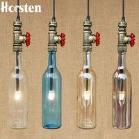 Horsten Loft Industrial Retro Iron Pipe Pendant Light American Creative Wine Bottle Hanging Lamp For Cafe