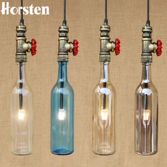 Horsten Loft Industrial Retro Iron Pipe Pendant Light American Creative Wine  Bottle Hanging Lamp For Cafe