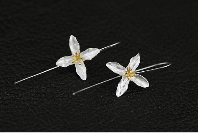 Stud Sırğa Moda Çiçək Dizaynı 925 Sterling Silver Gümüş - Moda zərgərlik - Fotoqrafiya 3