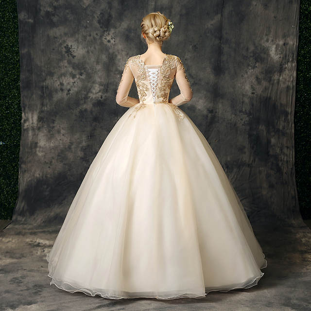 c36d38f031005 US $78.76 11% OFF|Walk Beside You Gold Quinceanera Dresses vestidos de 15  anos debutante Ball Gowns With Lace Appliques 3/4 Long Sleeves Beaded-in ...