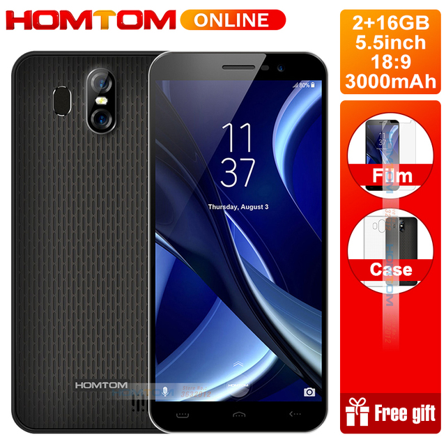 "Original HOMTOM S16 5.5""18:9 Full Screen Android 7.0 Quad Core Smartphone 2GB+16GB  Dual Back lens 3000mAh 3G Fingerprint ID"