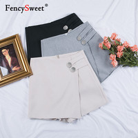 Fencysweet Korean Skirts Shorts for Women 2019 Spring Summer Streetwear High Waist Wide Leg Shorts Casual Loose Solid Lady Skort