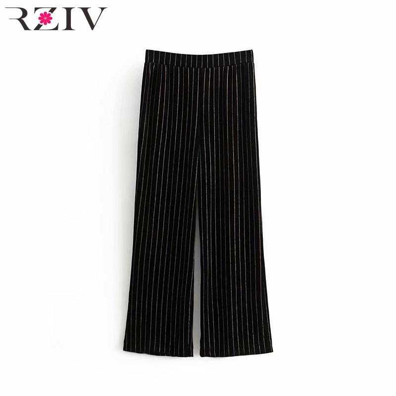 RZIV 2019 Spring Women's   Pants   Casual Striped Gold Velvet   Wide     Leg     Pants