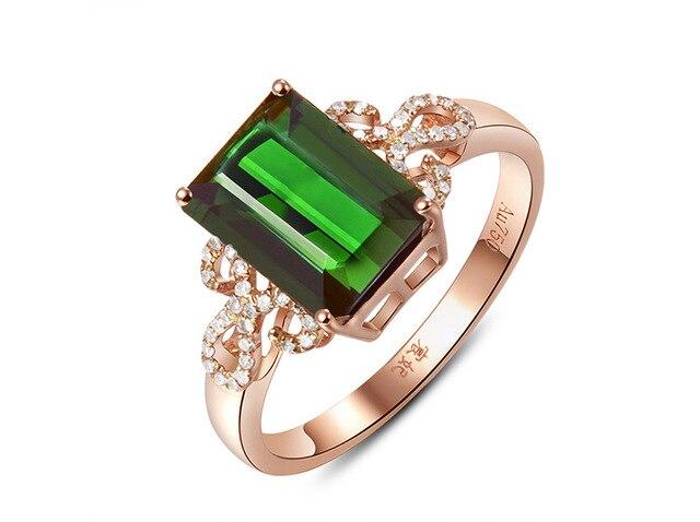Esmeralda 14 k rosa ouro verde anel de diamante anillos de bizuteria para o casamento feminino bague peridot jóias turquesa diamante anéis