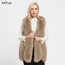JKKFURS 2019 Real Fox Fur Vest For Women Fashion New Arrivals Autumn Winter Thick Warm Gilet Waistcoat S7178